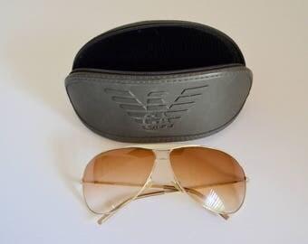 Giorgio Armani Aviator Sunglasses GA 134/S GOLD 3YGBA Gold Unisex 1990 Brown Lenses Made in Italy