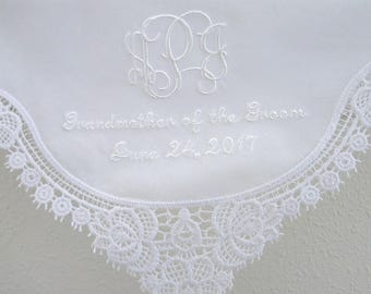 Mother of the Bride Lace Wedding Handkerchief with 3-Initial Monogram, Mother of the Bride/Groom and Date
