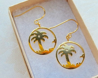 Palm Tree Earrings, Vacation, Cruise, Summer Earrings,  Dangly,  Gift for Her