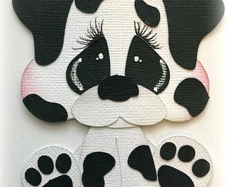 Puppy dog dalmatian premade paper piecing 3d die cut for scrapbooks cards planner project life by my tear bears kira