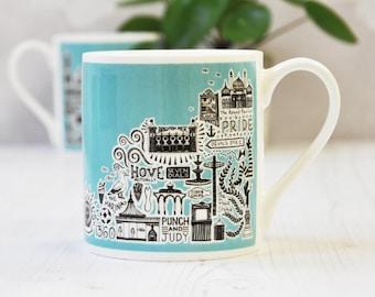 Brighton Mug - Blue Brighton Mug - colourful mug - colourful Brighton mug - Brighton gift - Brighton and Hove gift