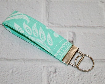 Fabric Key Fob, 5 Inch Key Ring, Key Wristlet, Key Loop, Aqua