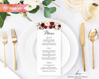 Printable Burgundy Floral Wedding Menu, Editable PDF Template, 4x9 Rustic Boho Menu Fall Winder Wedding, vistaprint DIY Instant Download #01