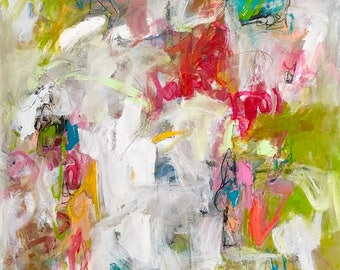 Abstract Expressionist Colorful Original Painting - Pink Ribbons 30 x 40