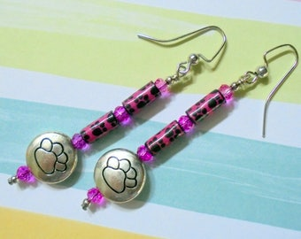 Hot Pink, Black and Silver Paw Print Earrings (3673)