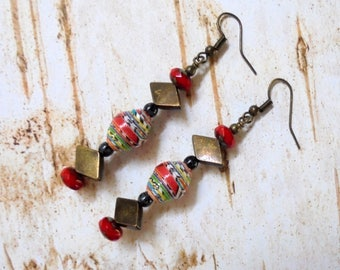 Red and Brass Ethnic Tribal Boho Earrings (3804)