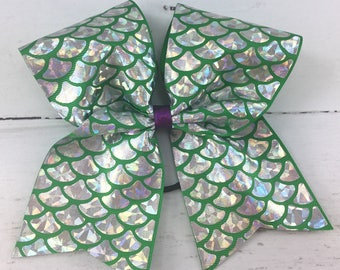 1 Cheer Bow, Girls Large Cheer Bow, Mermaid Cheer Bow, Green Mermaid Scale Bow