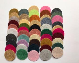 Wool Felt Circles Die Cut 50 - .75 inch Random Colored 4107 - DIY Felt - Merino Felt - Arts and Crafts - Hair Clip Supply - Die Cut Felt