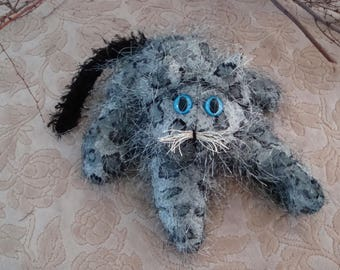Collectible Spotted Cat, home decor, housecat,long haired grey cat, stuffed handmade cat, posable cat