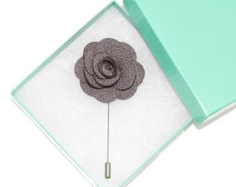 Men's Gray Floral Microfiber Lapel Stick Pin and Gift Box