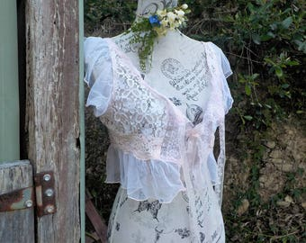 delicate lace camisole top - alternative - hippy - boho - romantic - one of a kind - medium