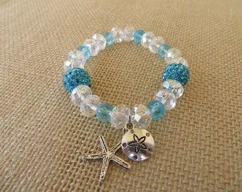 Aqua and Clear Crystal and Rhinestone Stretch Bracelet with Ocean Charms
