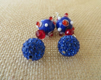Red White and Blue Chunky Lampwork and Rhinestone Beaded Dangling Earrings