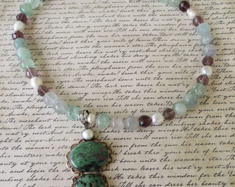 Fluorite Pearl And Faceted Crystal Beaded Necklace With Ruby Zoisite Pendant