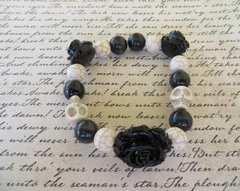 Stretchy Black Resin Rose And White Skull Beaded Bracelet