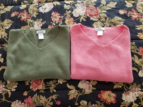Ladies Sweaters - Christopher and Banks - Coral Pink or Olive Green - COLOR CHOICE - Size M