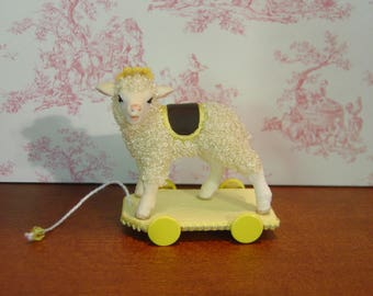 Dollhouse child's ride-on toy lamb yellow miniature 1:12 Scale