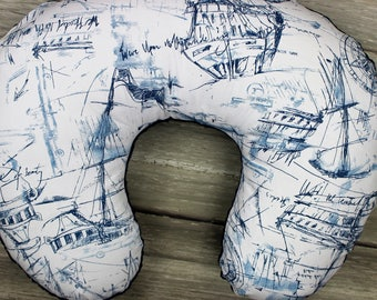 Nautical Schooners Nursing Pillow Cover, Nautical Nursery Accessories