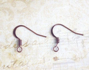 20 copper Fishhook earwire earrings nickel and lead free metal