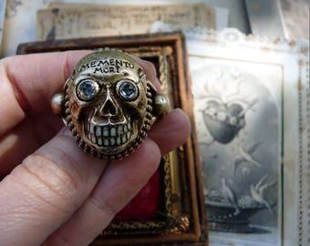 Antique European Gothic Skull Ring, A Georgian Victorian Memento Mori Talisman, offered by RusticGypsyCreations