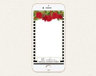 Christmas Holiday Party Snapchat Filter   Black White Stripe Snapchat Filter   Snapchat GeoFilter Wedding Baby Shower Birthday  