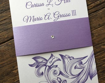 Art Nouveau Classic Wedding Invitation-Customize with Your Wedding Color