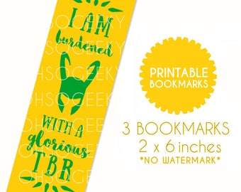 DIY PRINTABLES Loki Inspired Yellow Green Bookmarks for Bookworms Instant Download