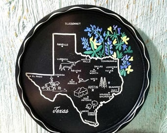 Yearly Big Sale: Collectible Texas State Memorabilia Tin Plate, Lone Star State Travel Souvenir
