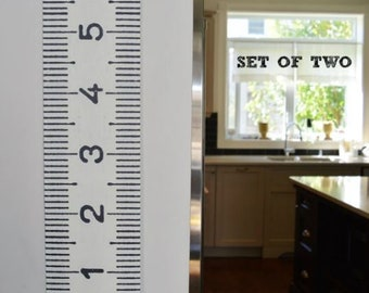 Vintage-inspired oversized giant tape measure height charts, Two (2) Metric Growth Charts