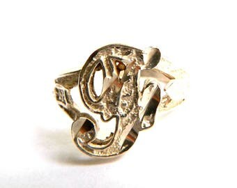 Vintage Diamond Cut Sterling Silver Initial Cursive Ring - Letter F - Script - Alphabet Ring - Size 7.25