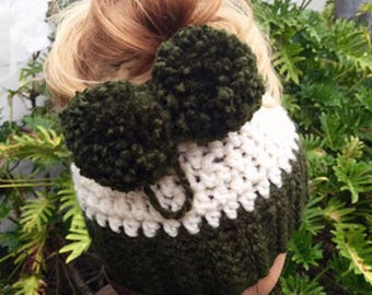 Messy Bun Hat, Ponytail Hat, Trendy hat, Open Top Hat,  Bun Hat, Gifts for her, Christmas Gifts for Girls, Hat, Bun Hat