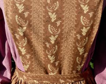 Handmade brown and cream print pinner apron, pockets