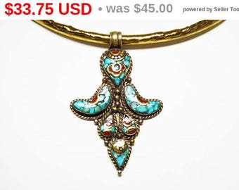Mediterranean Turquoise Pendant - Gold and Silver Tones - Inset Turquoise, Blue and Carnelian Red Stones - Collar Style Vintage 1970s