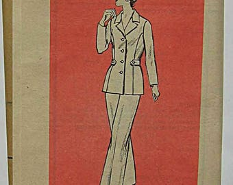 """RARE Vintage Misses Jacket and Pants, Pantsuit, Ann Adams Mail Order Sewing Pattern 4670 UC Size 14 1/2, Bust 37"""""""