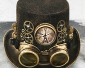 STEAMPUNK HAT GOGGLES Set - 2 pc Gold Brass Vintage-Look Steampunk Top Hat with Clock, Gears, Chains, Tubes, and Matching Removable Goggles