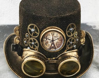 STEAMPUNK HAT GOGGLES Set - 2 pc Gold Brass Vintage-Look Steampunk Top Hat  with
