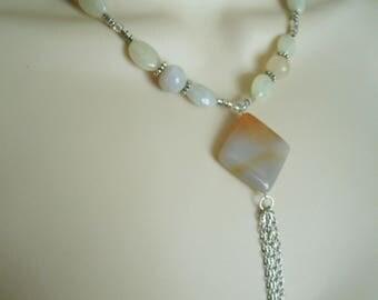Moonstone And Quartz Necklace boho jewelry bohemian jewelry gypsy jewelry hipster jewelry hippie new age necklace metaphysical boho necklace