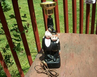 Vintage Adorable Laurel and Hardy Chalkware Plaster Electric Lamp Works