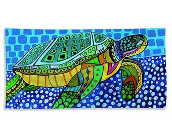 Sea Turtle Towels - Hand Towel, Bath Towel or Beach Towel -  Oahu Waikiki Beach Art Bathroom Decor Ocean Artist Heather Galler Folk Art