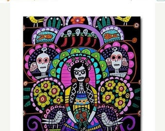50% Today ONLY- Day of the Dead Art Ceramic Tile Frida Kahlo Mexican Folk Art tree of life