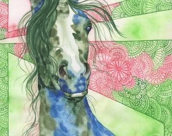 Gemmy, original watercolor painting, unicorn art, horses, ponies, illustration for kids, fantasy art for dreamers, boho, bohemian, equine