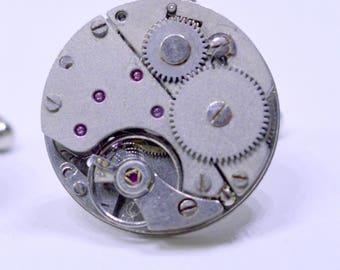 Round Industrial Watch Movement Cufflinks with genuine SWISS made watch movements 87
