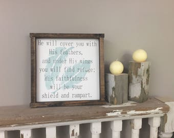 Psalm 91 4 He will cover you with His feathers small Distressed Framed Wood Sign