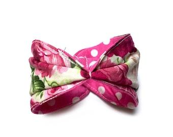 Reversible fabric Cuff Bracelet * flowers *.