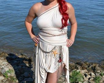 Ariel costume, mermaid costume, beach dress, wrap dress, sail dress, draped dress, neutral dress, Ariel dress, Ready to Ship