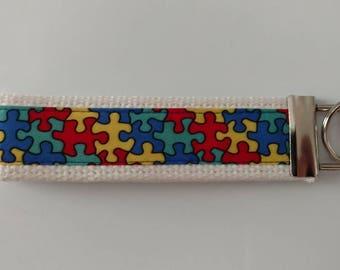 Puzzle Pieces Autism Awareness Key Fob Wristlet Key Chain - Ribbon on White Cotton Heavyweight Webbing