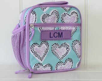 Lunch Bag With Monogram Classic Style Pottery Barn -- Lavender/Aqua Heart