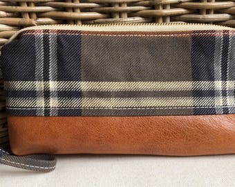 NAVY and gray plaid waxed CANVAS & cognac sheepskin LEATHER  wristlet pouch: navy blue pockets | orange and gold striped lining