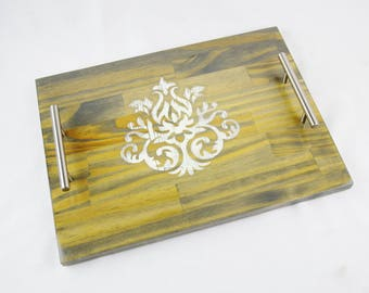 Distress Damask Stained Wood Serving Tray, Coffee Tray, Tea Tray, Espresso Tray