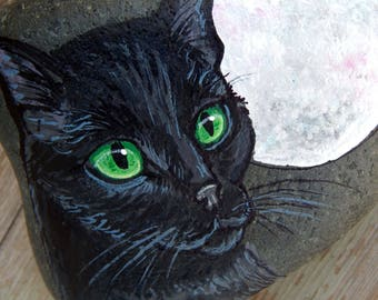 BLACK CAT full MOON Painted Stones Rock Art Animals Spirit Guide Artwork Witches Familiar Stone Altar Tools Pet Paintings Cats Lover Gifts